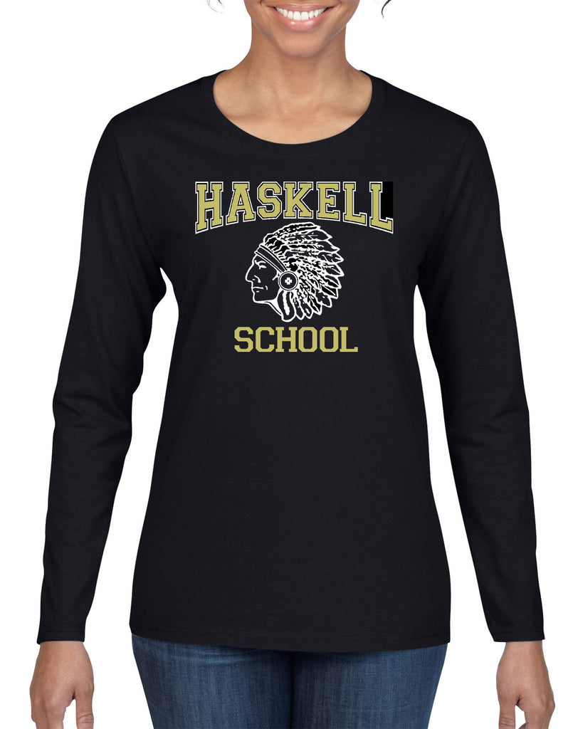 "HASKELL School Heavy Cotton Black Long Sleeve Tee w/ HASKELL School ""Indian"" Logo on Front."