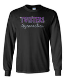 Twisters Gymnastics 100% Cotton Long Sleeve Tee w/ Twisters 2 Color Spangle Design