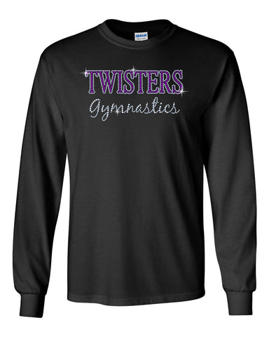 Twisters Gymnastics Heavy Blend Black Hoodie w/ Twisters Circle 2 Color Design