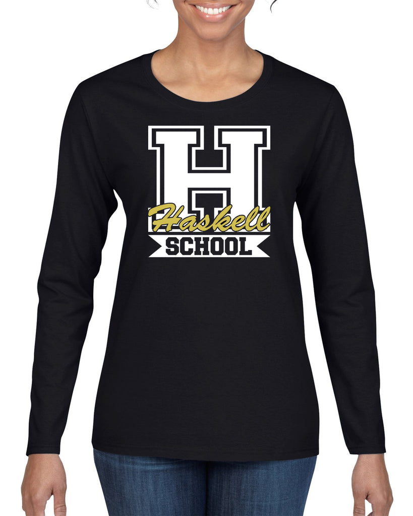 "HASKELL School Heavy Cotton Black Long Sleeve Tee w/ HASKELL School ""H"" Logo on Front."