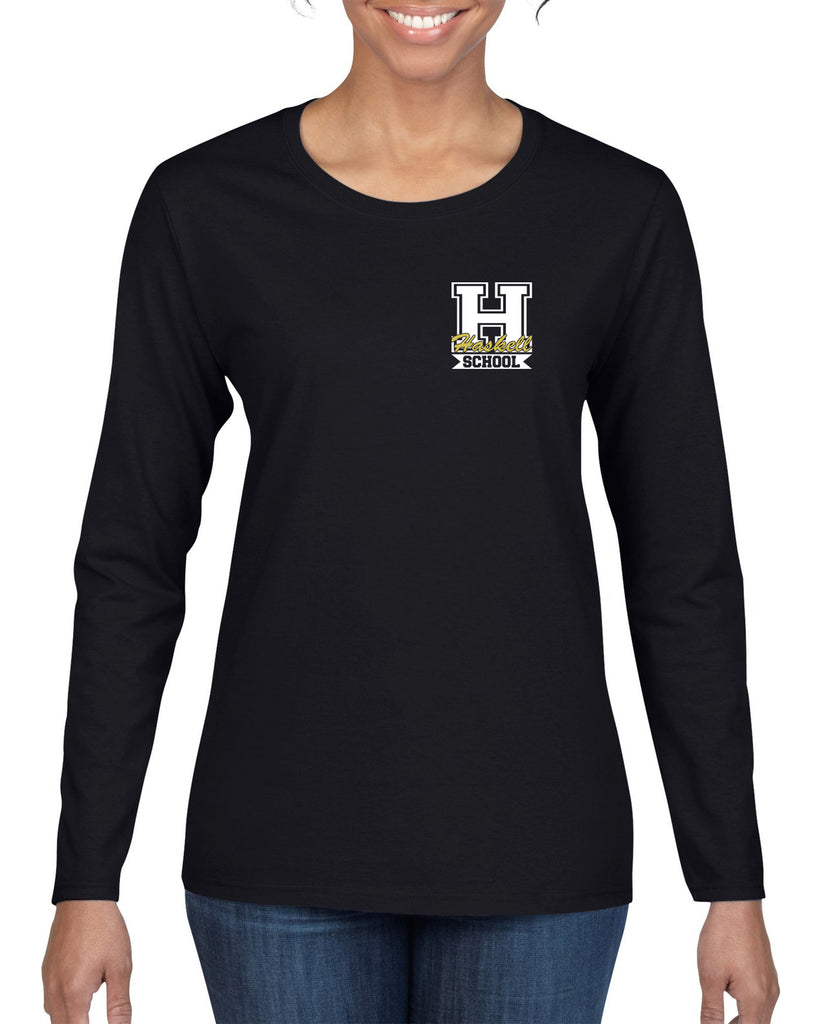 "HASKELL School Heavy Cotton Black Long Sleeve Tee w/ Small Left Chest HASKELL School ""H"" Logo on Front in GLITTER."