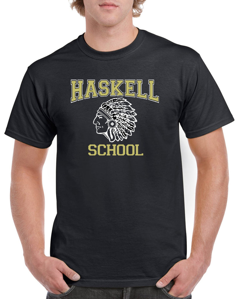 HASKELL School Heavy Cotton Black Short Sleeve Tee w/ HASKELL School Indian Logo on Front.