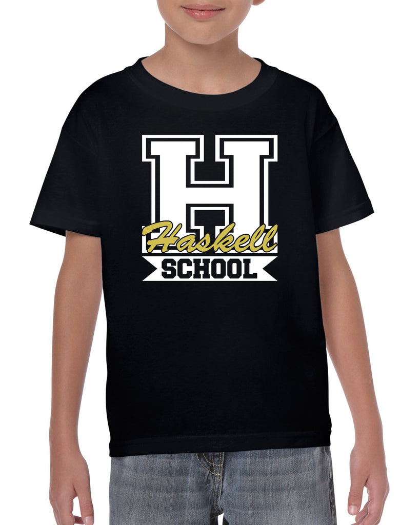 "HASKELL School Heavy Cotton Black Short Sleeve Tee w/ HASKELL School ""H"" Logo on Front."
