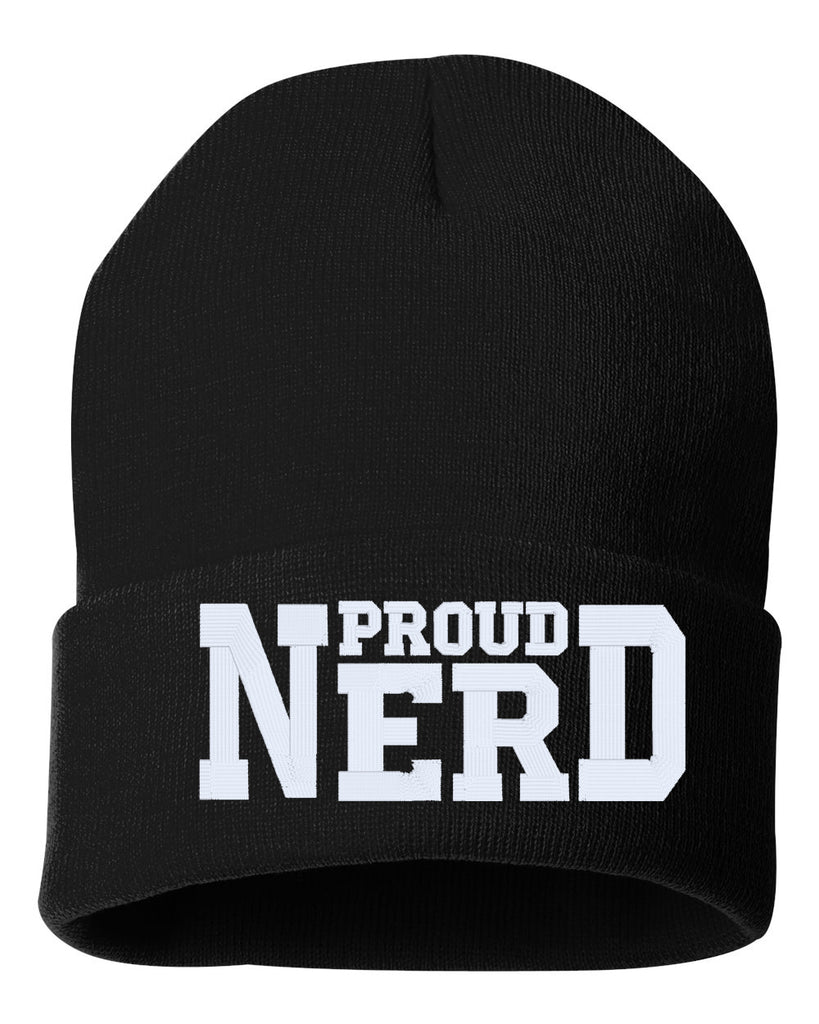 PROUD NERD Embroidered Cuffed Beanie Hat
