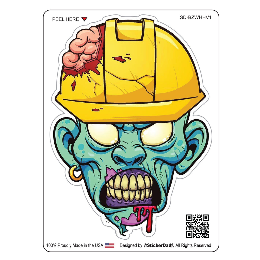 "BLUE ZOMBIE with Hard Hat V1 - 4"" Full Color Printed Vinyl Decal Window Sticker"