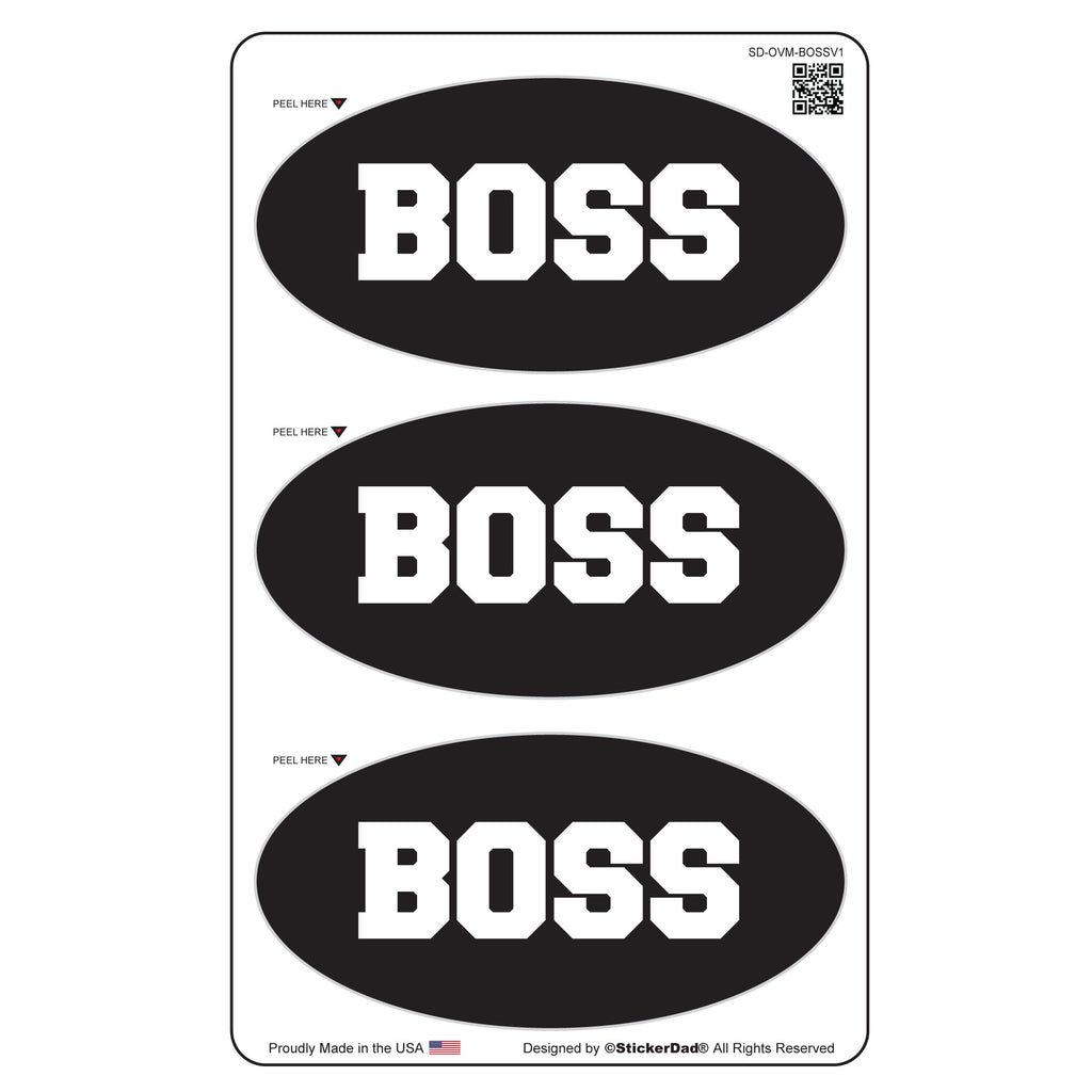 "BOSS Oval Minis 3"" x 1.5"" (3 pack) Hard Hat-Helmet Full Color Printed Decal"