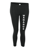 Wanaque School Black Leggings w/ WANAQUE Design Down Front of Left Leg.