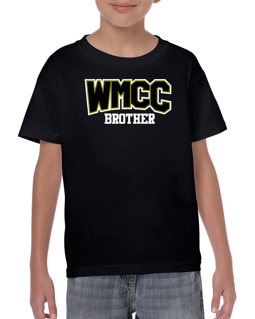 "WMCC Black Short Sleeve Tee w/ WMCC ""Brother"" Logo in 2 Color Print (non-glitter) on Front."