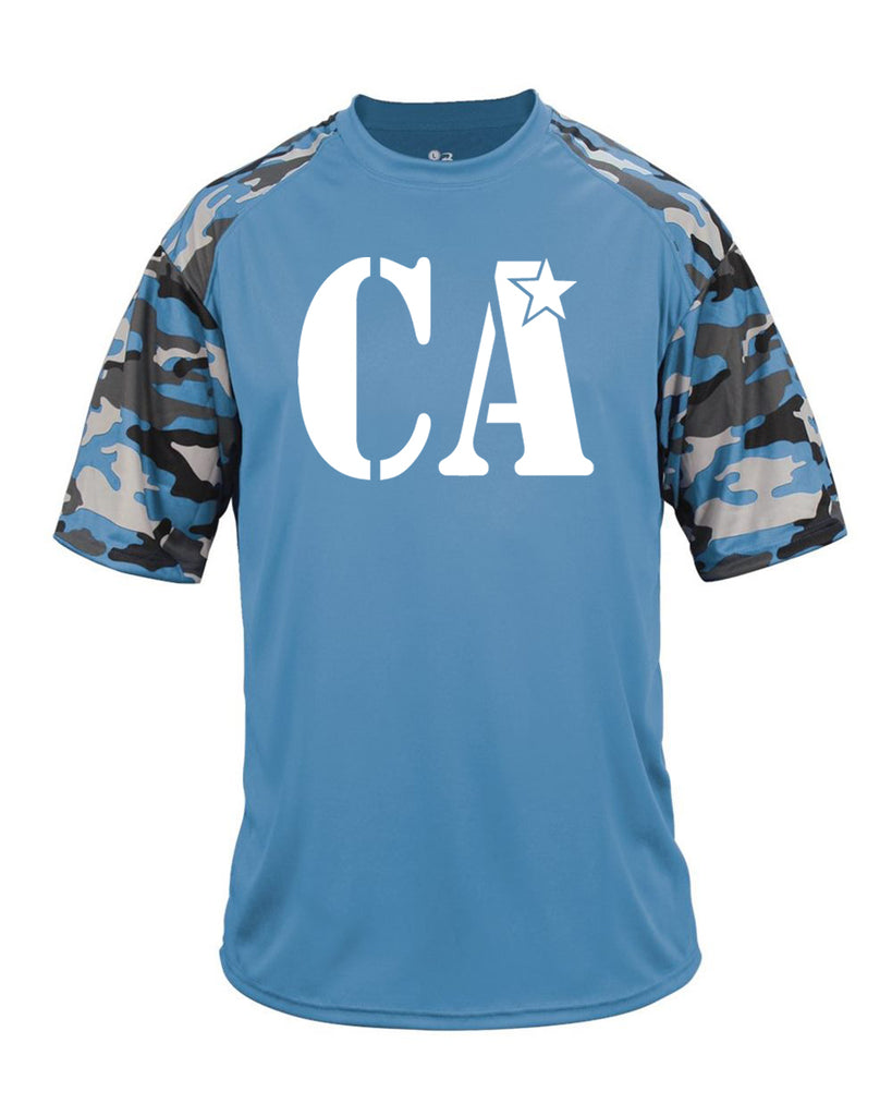 Cheer Army Badger Camo Color Block Short Sleeve Tee w/ White CA Logo on Front.