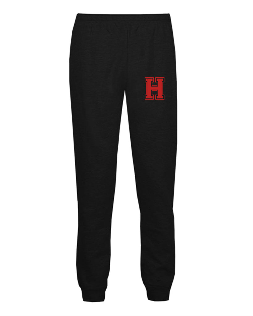 Heights Black Badger - Athletic Fleece Joggers - 2215 w/ Heights Small Varsity H logo on Left Hip.