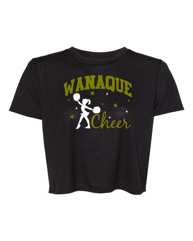 WANAQUE CHEER - BC Women's Flowy Cropped Tee  with 2 color Wanaque Cheer Design on Front.