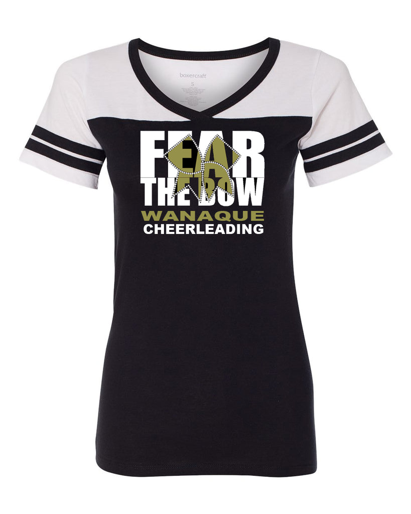 WANAQUE CHEER Boxercraft - Girls Powder Puff T-Shirtw/ FEAR THE BOW Design on Front.