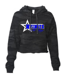 NFINITE ITC Camo Cropped Hooded Sweatshirt w/ NFINITE Side Star 2 Color Logo on Front.