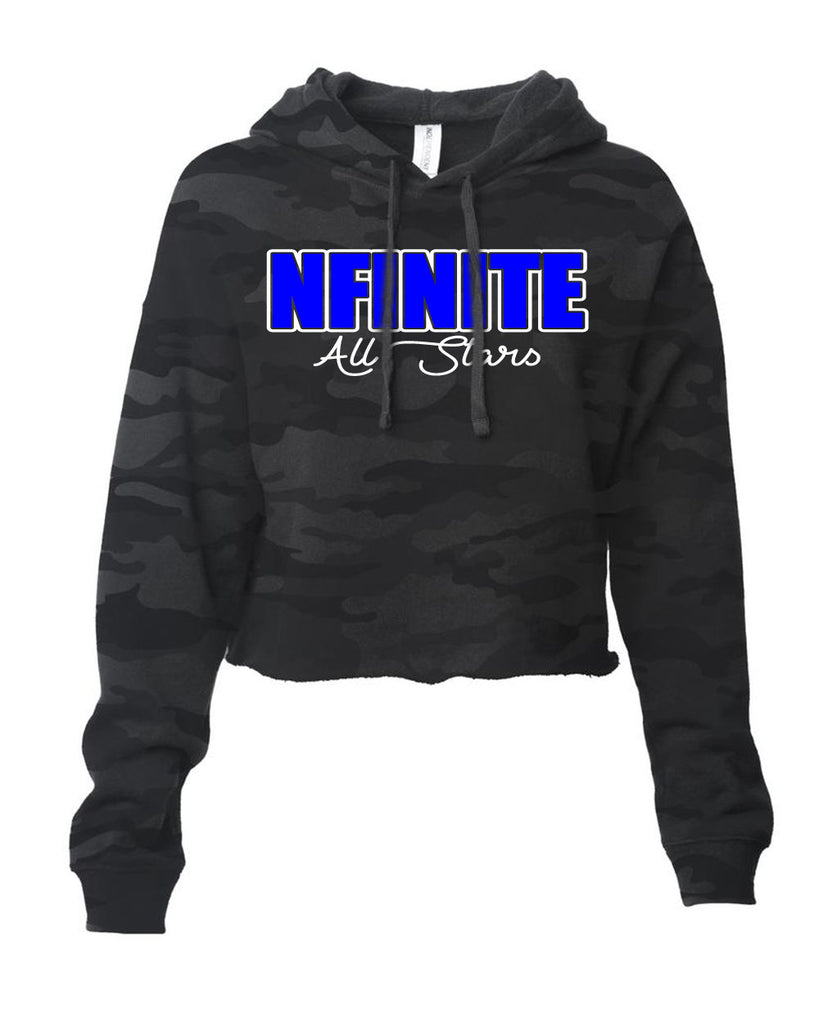 NFINITE ITC Camo Cropped Hooded Sweatshirt w/ NFINITE Impact 2 Color Logo on Front.
