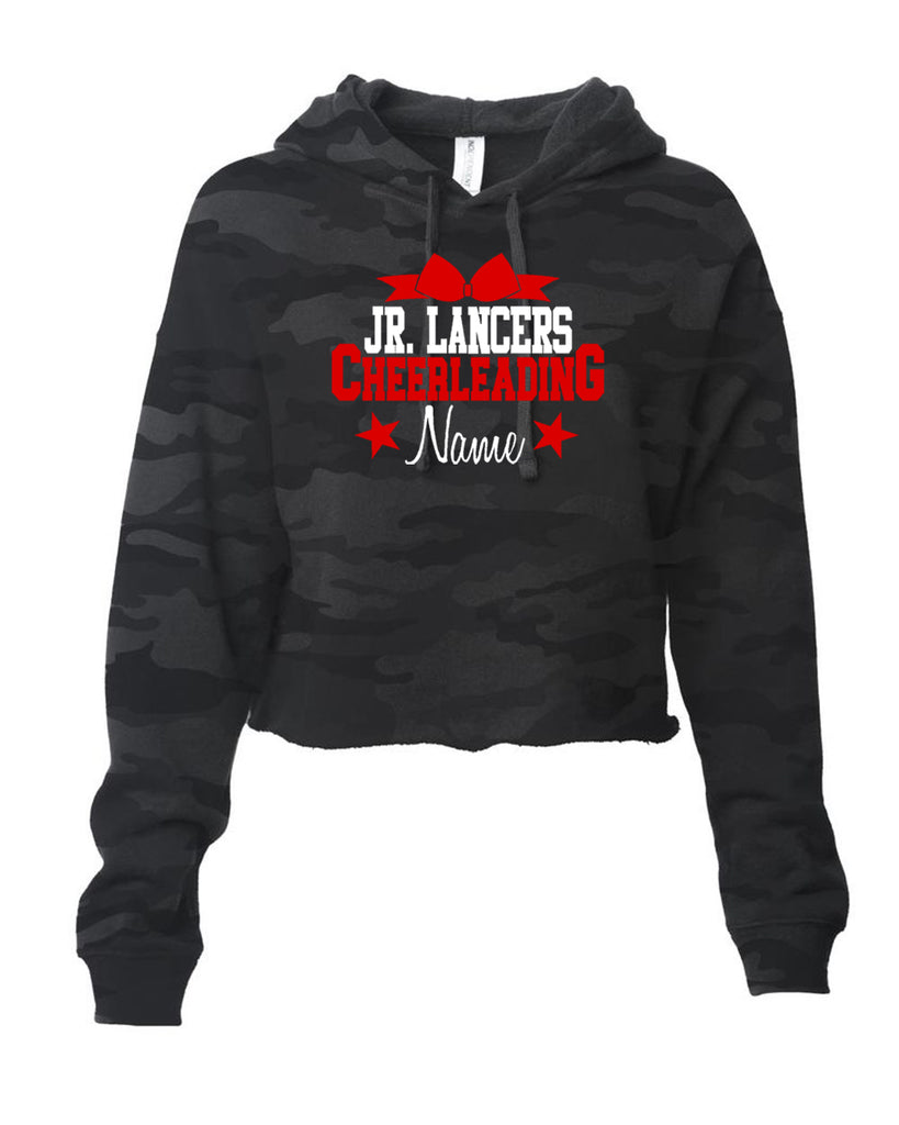 Jr Lancers Cheer - ITC Women's Lightweight Cropped Hooded Sweatshirt w/ Cheerleading 2 Color Design on Front.
