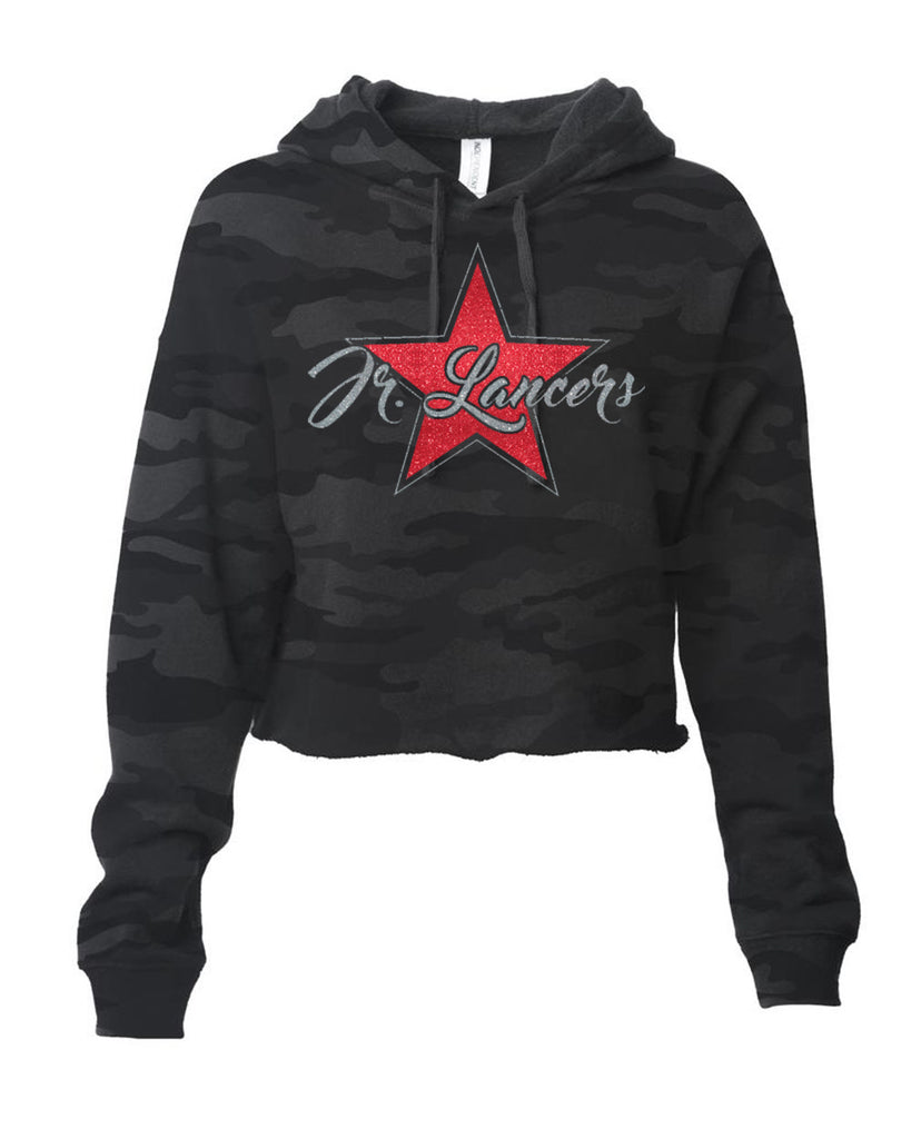 Jr Lancers Cheer - ITC Women's Lightweight Cropped Hooded Sweatshirt w/ Glitter Star Design on Front.
