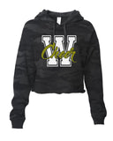 WANAQUE CHEER - ITC Women's Lightweight Cropped Hooded Sweatshirt with 2 color W-Cheer Design on Front.