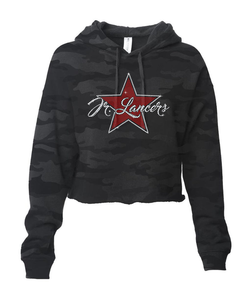 Jr Lancers Cheer - ITC Women's Lightweight Cropped Hooded Sweatshirt with Spangle Star Design on Front.