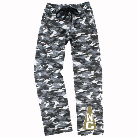 Wanaque Cheer Camo PJ Style Flannel Pants w/ WC Megaphone Design on Bottom of Left Leg.
