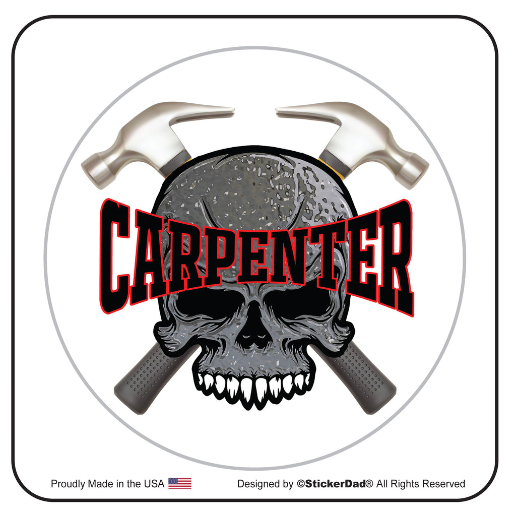 "CARPENTER CROSS HAMMERS 2"" Round Hard Hat-Helmet Full Color Printed Decal"