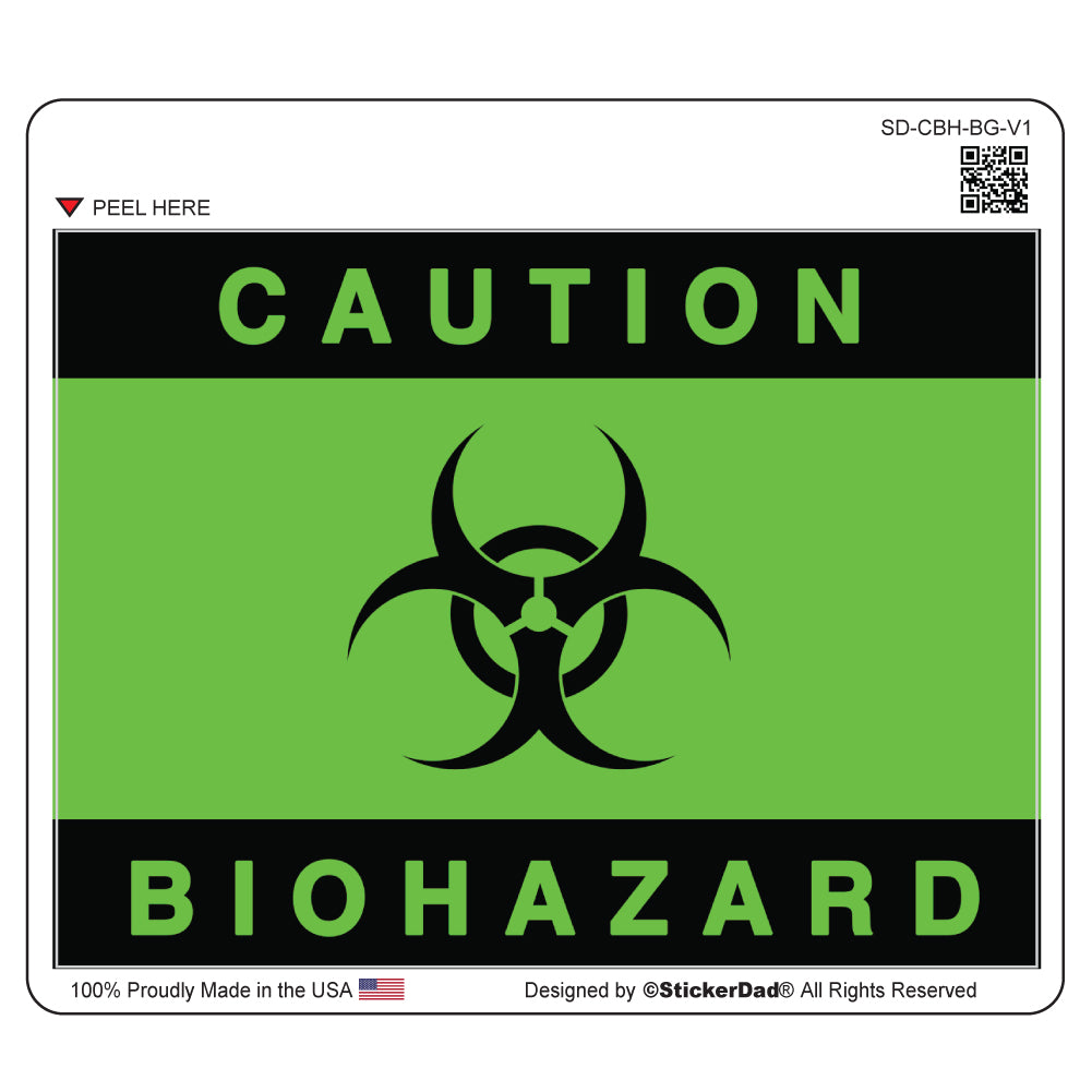 "Warning Biohazard - 5"" x 4"" - Full Color Printed Sticker Label"