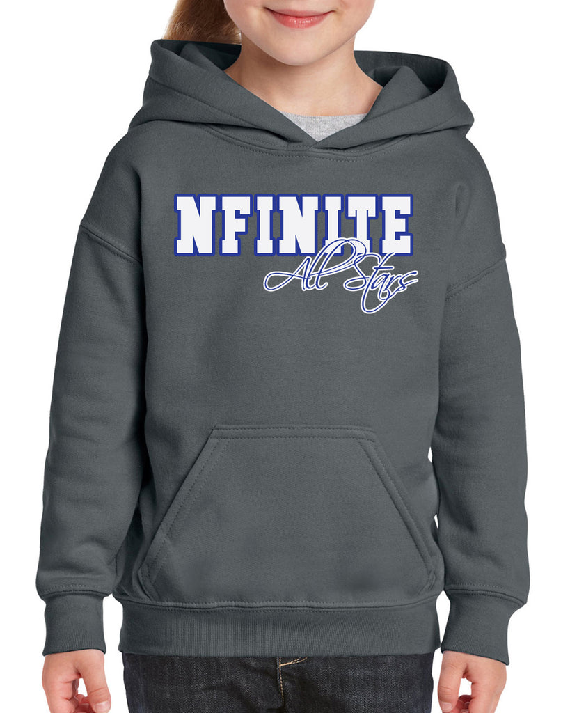 NFINITE Charcoal Heavy Blend Hoodie w/ NFINITE All Stars 2 Color Logo on Front.