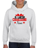 Jr Lancers Competition Cheer Heavy Cotton White Shirt w/ Cheerleading 2 Color Design on Front.