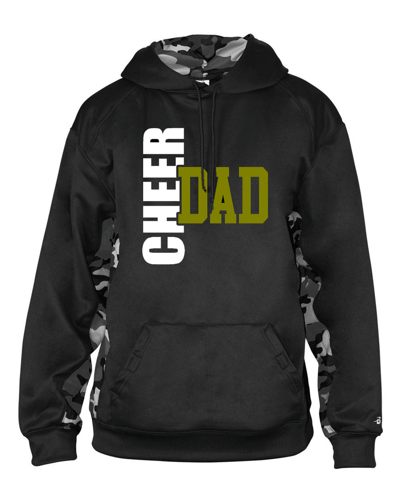 WANAQUE Cheer Camo Colorblock Performance Fleece Hooded Sweatshirt - 1469 w/ CHEER DAD BOW SEASON Design