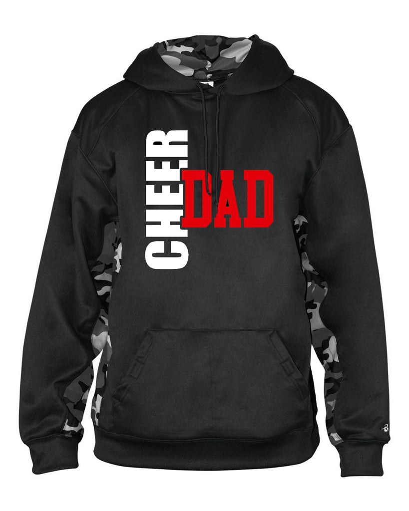 Jr. Lancers Cheer Camo Colorblock Performance Fleece Hooded Sweatshirt - 1469 w/ CHEER DAD BOW SEASON Design