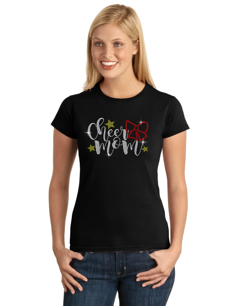 Cheer Mom Bow V1 Spangle Bling Design Shirt
