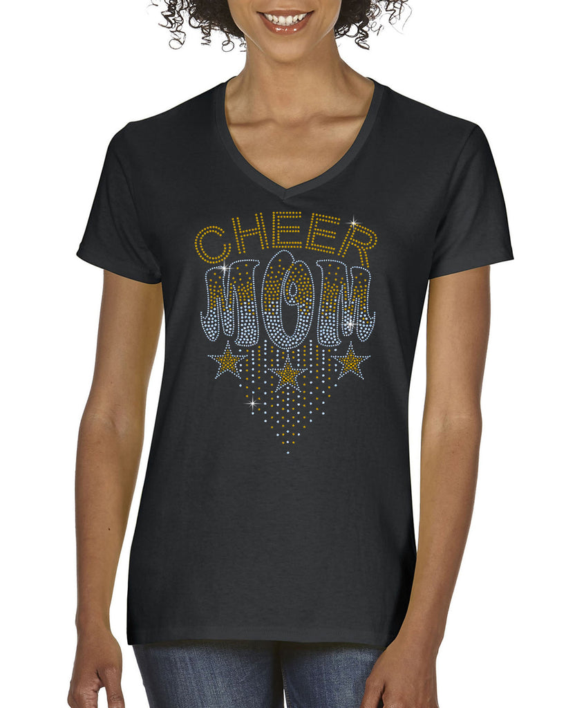 RTCC Cheer Mom Ombre Silver/Gold Spangle Bling Design Shirt