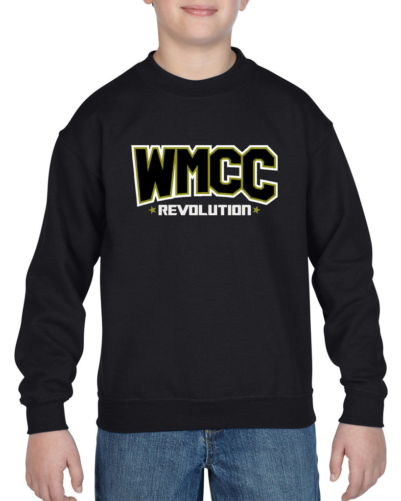 WMCC Black Crewneck Sweatshirt w/ WMCC Logo in 2 Color Print (non-glitter) on Front.