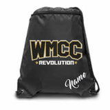 WMCC Black Zippered Drawstring Backpack w/ WMCC Logo in 3 Color GLITTER on Front.