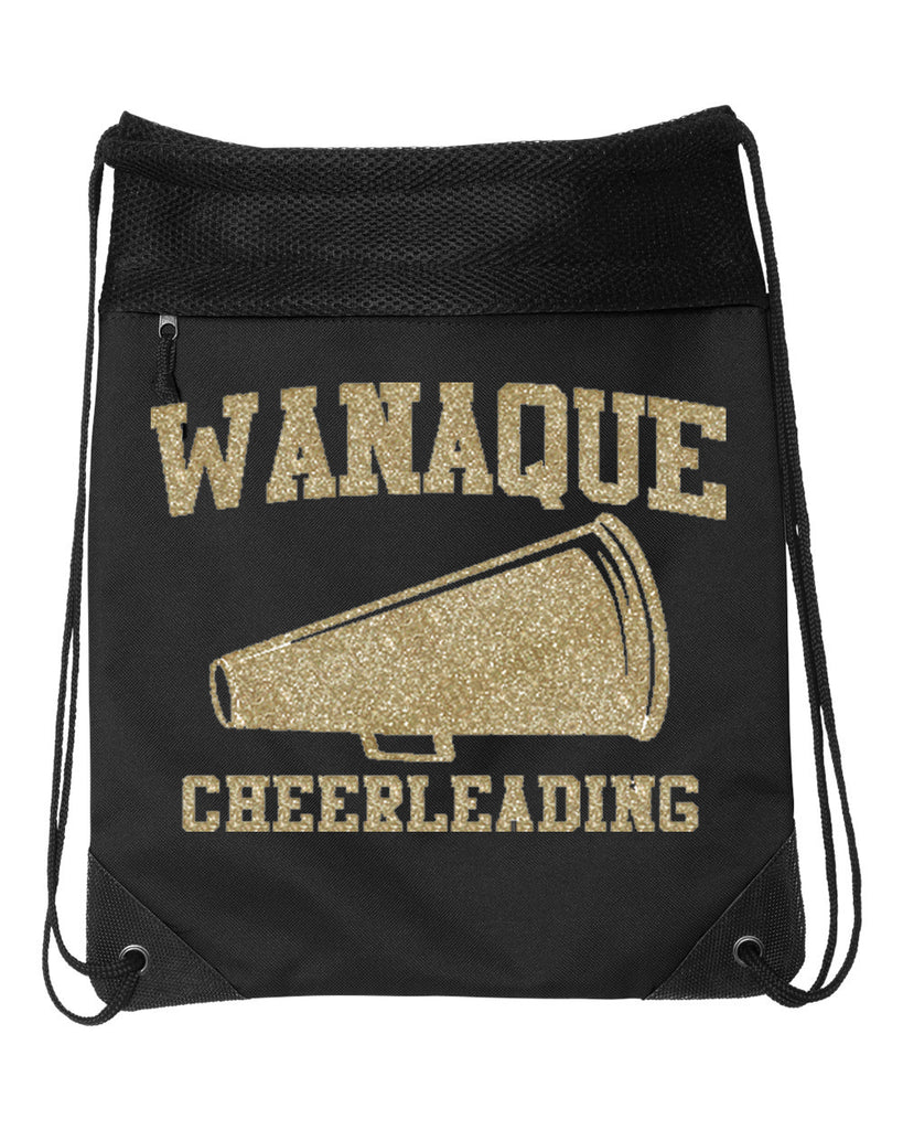 WANAQUE CHEER  Black Coast to Coast Drawstring Backpack - 2562 w/ Gold GLITTER Megaphone Design on Front.