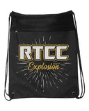 RTCC  Black Coast to Coast Drawstring Backpack - 2562 w/ GLITTER Burst Design on Front.