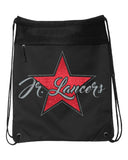 Jr. Lancers  Black Coast to Coast Drawstring Backpack - 2562 w/ Glitter Star Design on Front.