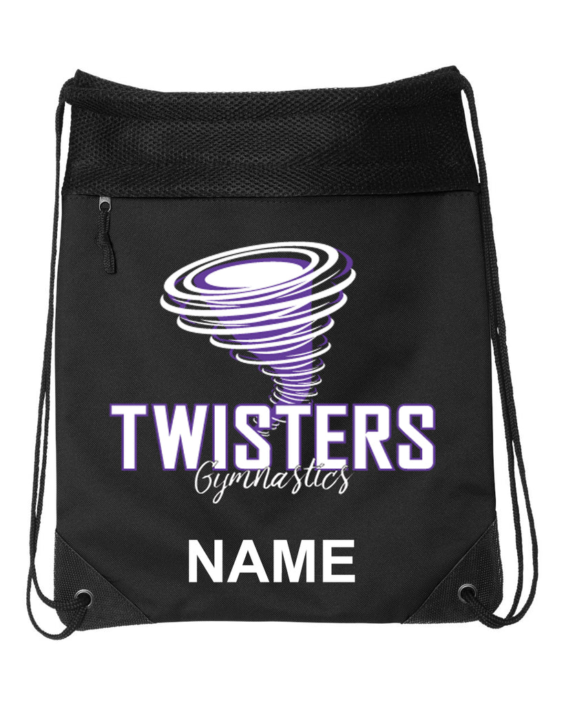 Twisters Gymnastics Black Coast to Coast Drawstring Backpack - 2562 w/ F5 Design on Front.