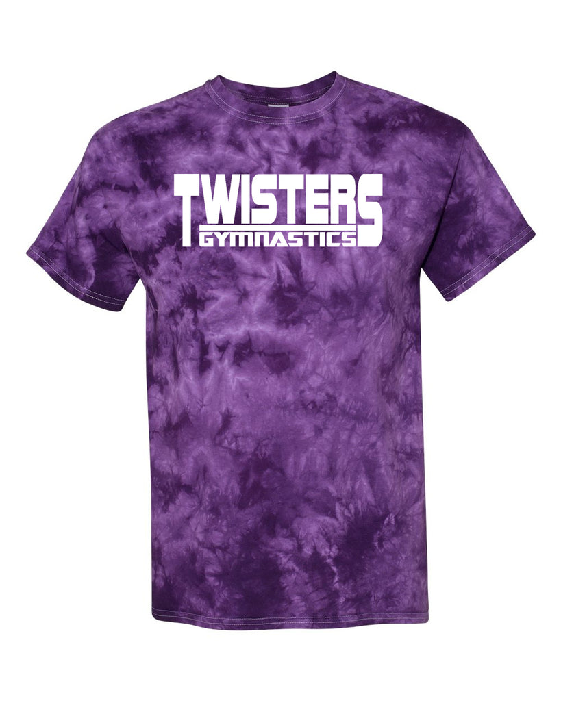 Twisters Gymnastics Dyenomite - Purple Crystal Tie Dye T-Shirt - 200CR w/ Twisters Beam Design