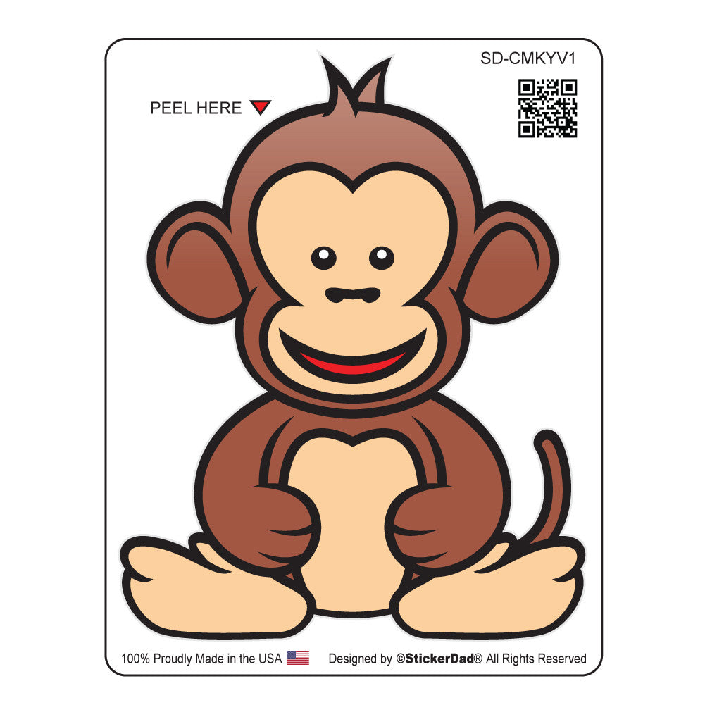 "Cute Monkey V1 - 4"" Full Color Printed Vinyl Decal Window Sticker"