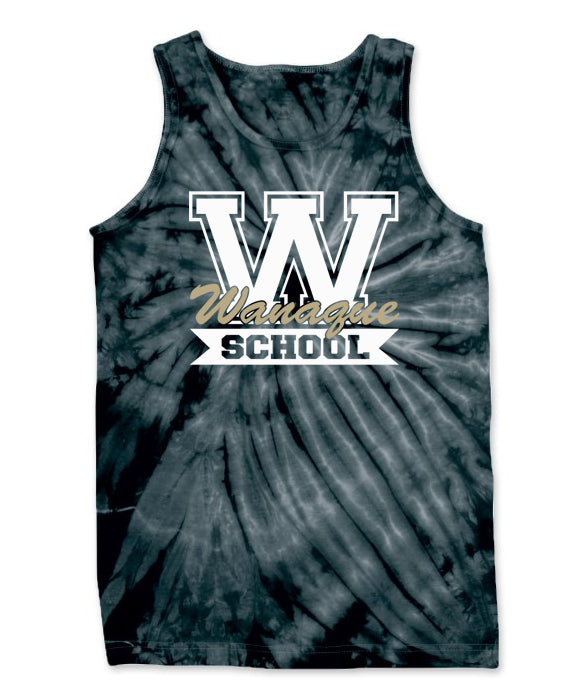 "Wanaque School Cyclone Tie Dye Tank Top w/ Wanaque School ""W"" 2 color Logo on Front."
