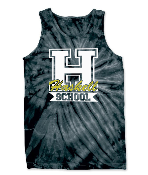"HASKELL School Cyclone Tie Dye Tank Top w/ HASKELL School ""H"" Logo on Front."