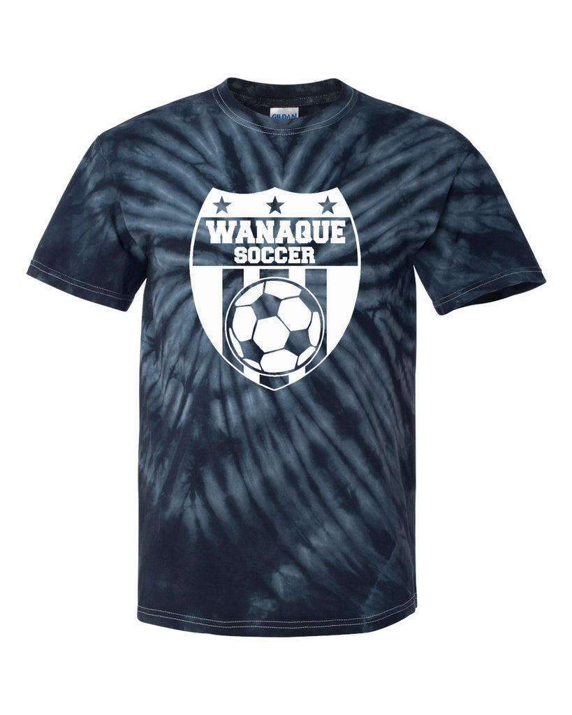 Wanaque Soccer Cyclone Tye Dye Short Sleeve Tee w/ Large Wanaque Soccer Logo on Front.