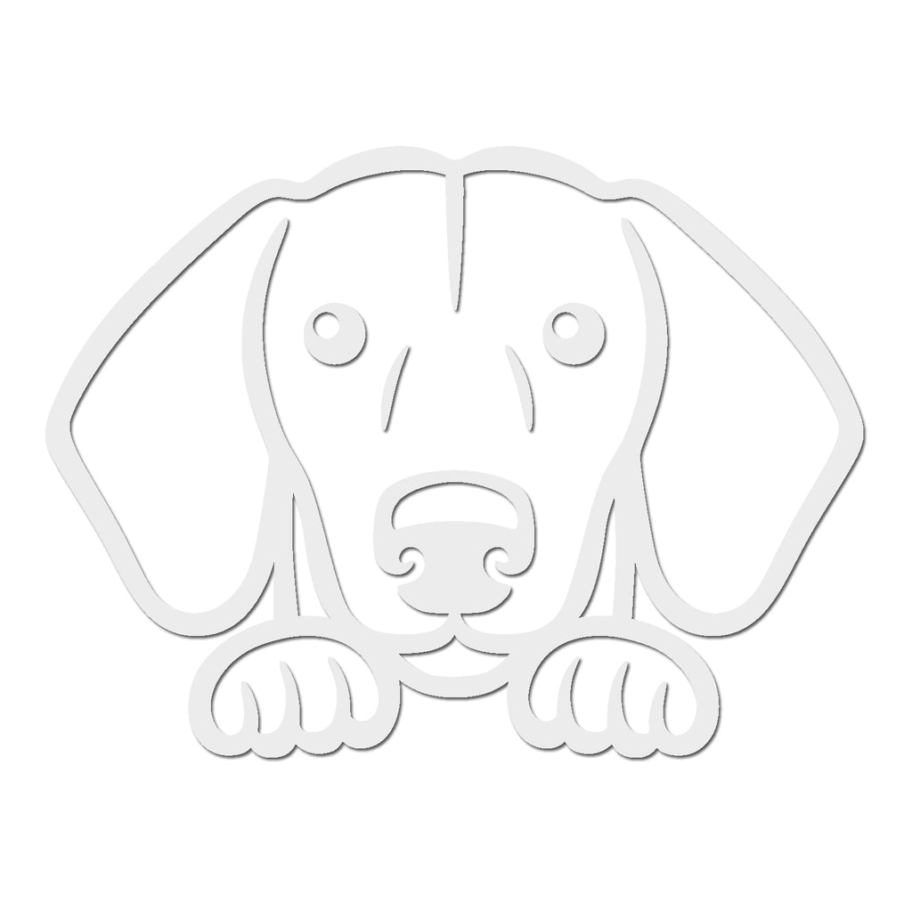 Dachshund Dog Peeking V1 Single Color Transfer Type Decal