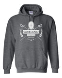 Lakeland Fencing Dark Heather Heavy Blend Hoodie w/ White Design