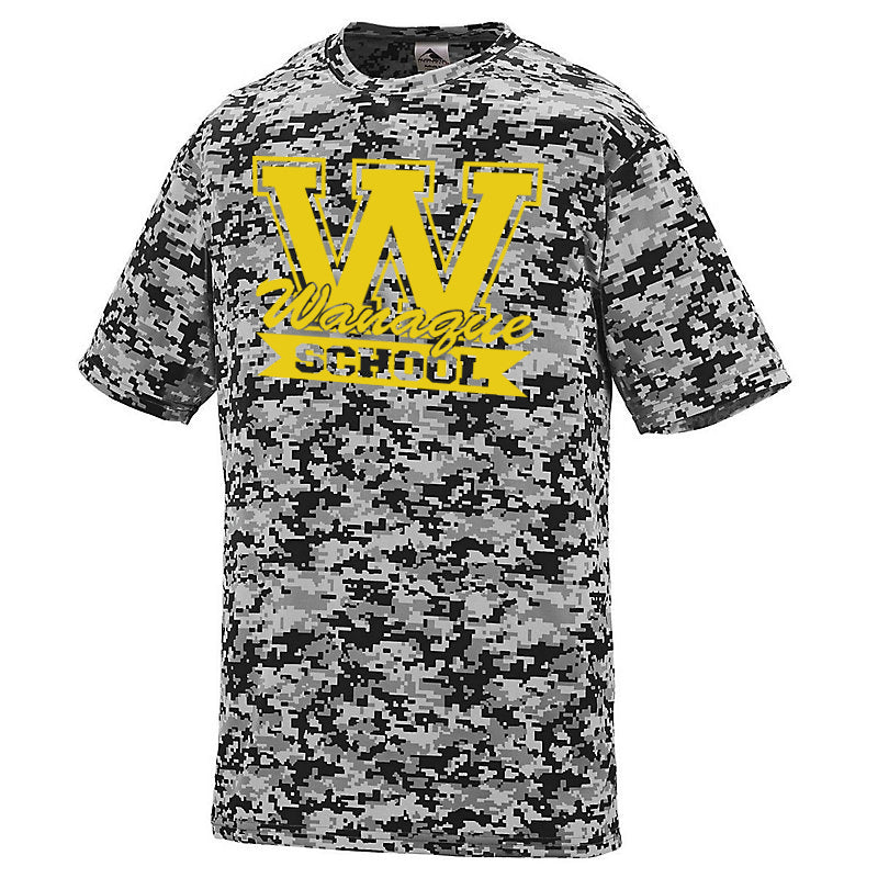 "WANAQUE Black Digi Camo Wicking Short Sleeve Tee w/ WANAQUE School ""W"" Logo on Front."