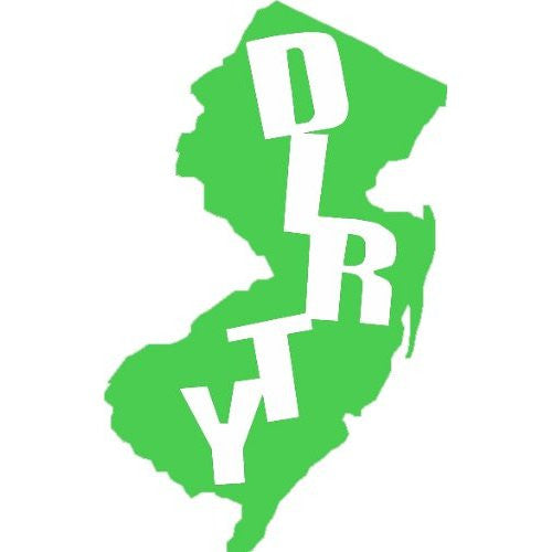 Dirty Jersey State Silhouette Single Color Transfer Type Decal