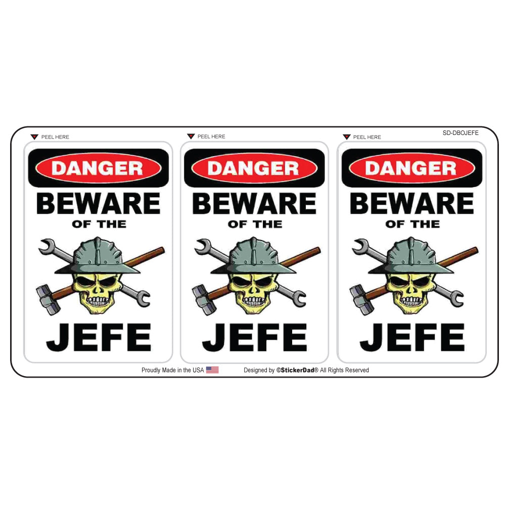 "Danger Beware of the JEFE Minis 2.25"" x 1.5"" (3 pack) Hard Hat-Helmet Full Color Printed Decal"
