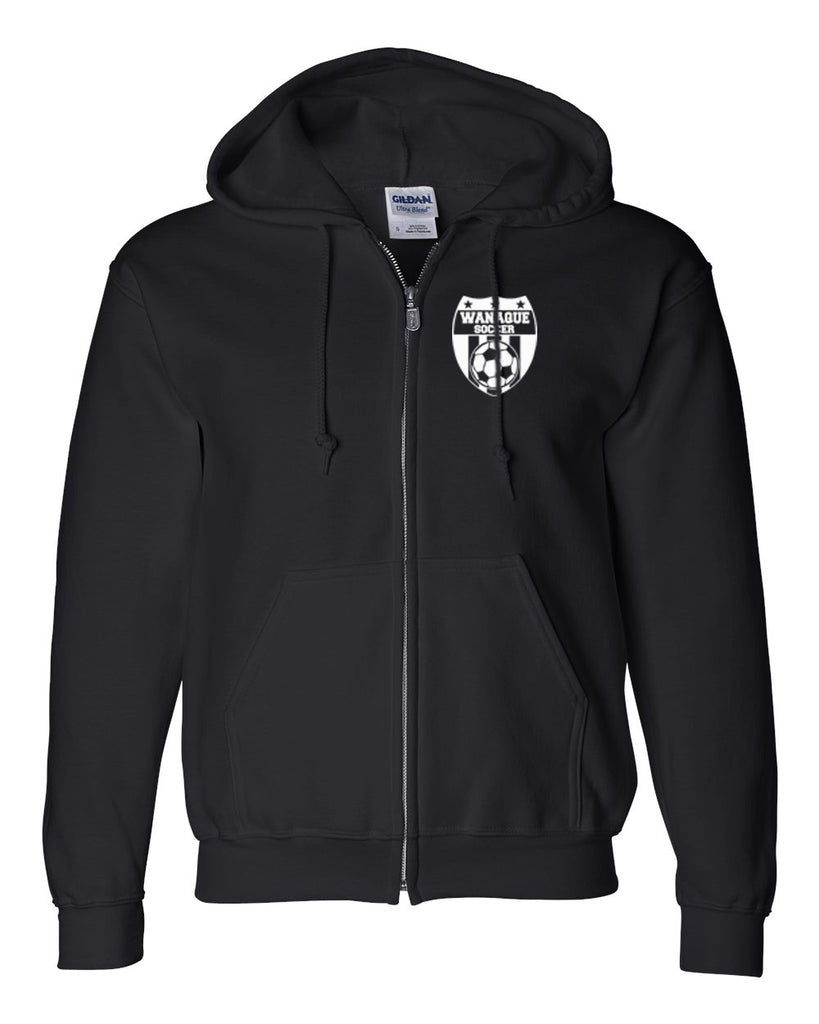 Wanaque Soccer Black Heavy Blend Full-Zip Hoodie with Small Wanaque Soccer Logo on Left Chest..