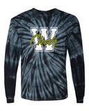 WANAQUE CHEER Cyclone Tye Dye Long Sleeve Tee w/ W-CHEER Logo on Front.