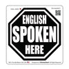 English Spoken Here Stop Sign V1 Hard Hat-Helmet Full Color Printed Decal